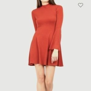 BCBG Orange Bell Sleeve 60s Vibes Mini Dress M